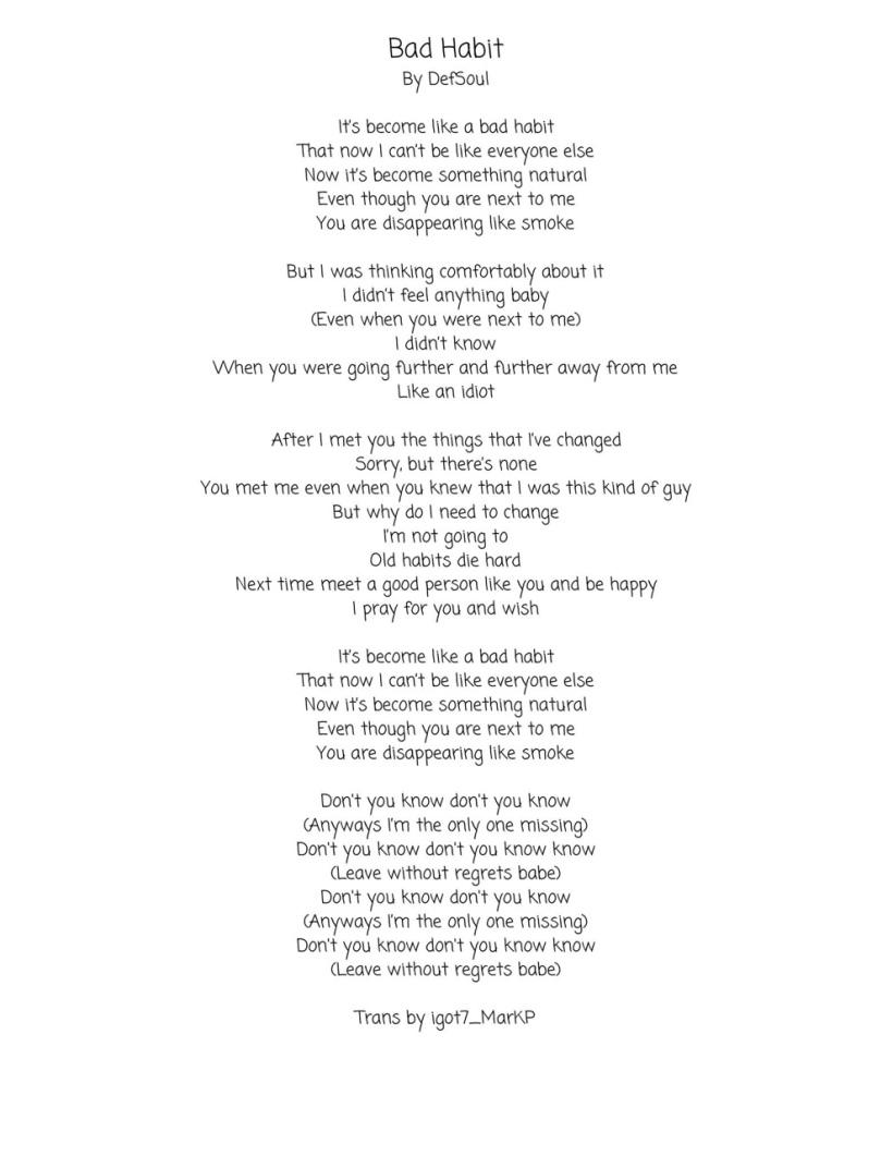 Bad Habit Lyrics